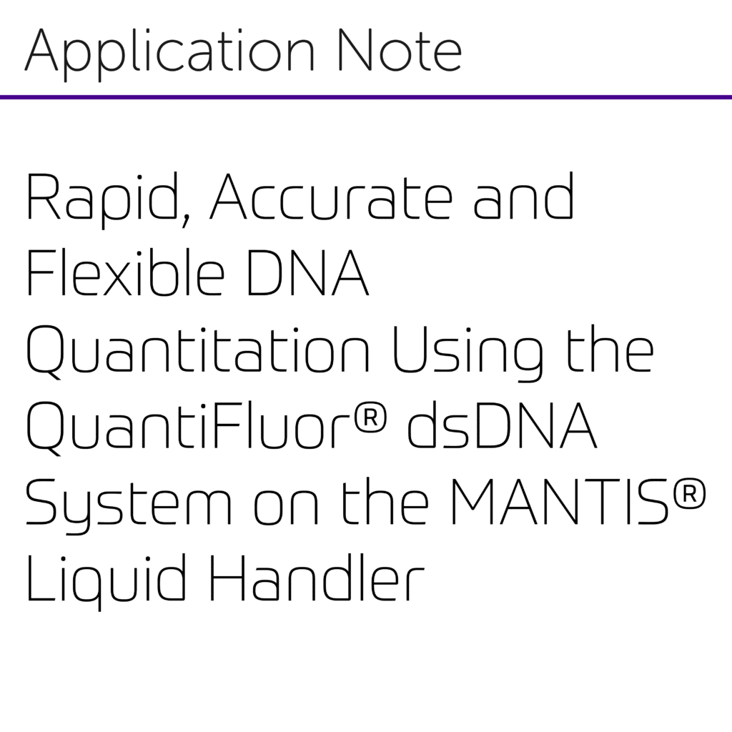 Rapid, Accurate and Flexible DNA Quantitation Using the QuantiFluor® dsDNA System on the MANTIS® Liquid Handler-01