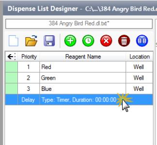Double-click the Dispense Delay in the Dispense List