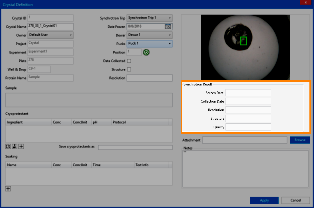 synchotron result panel in rock maker crystallization software