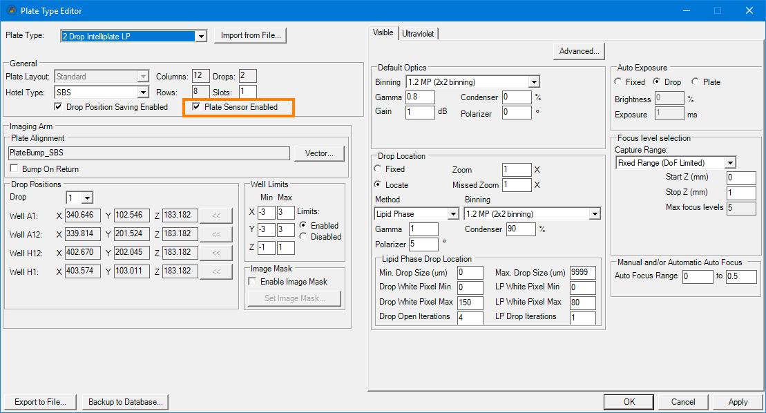 rock imager software plate sensor
