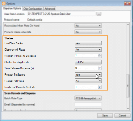 Plate Stacker Settings in the Options Menu