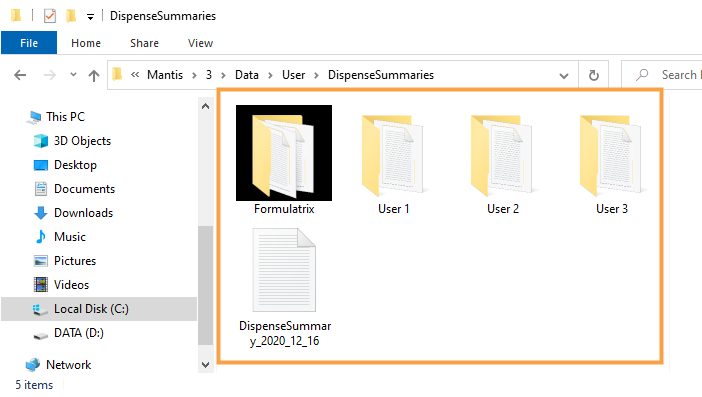 Dispense Summary Folders Listed for Multiple Users
