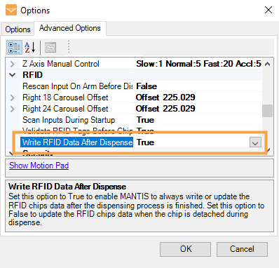 Write RFID Data After Dispense Option in the Options Menu